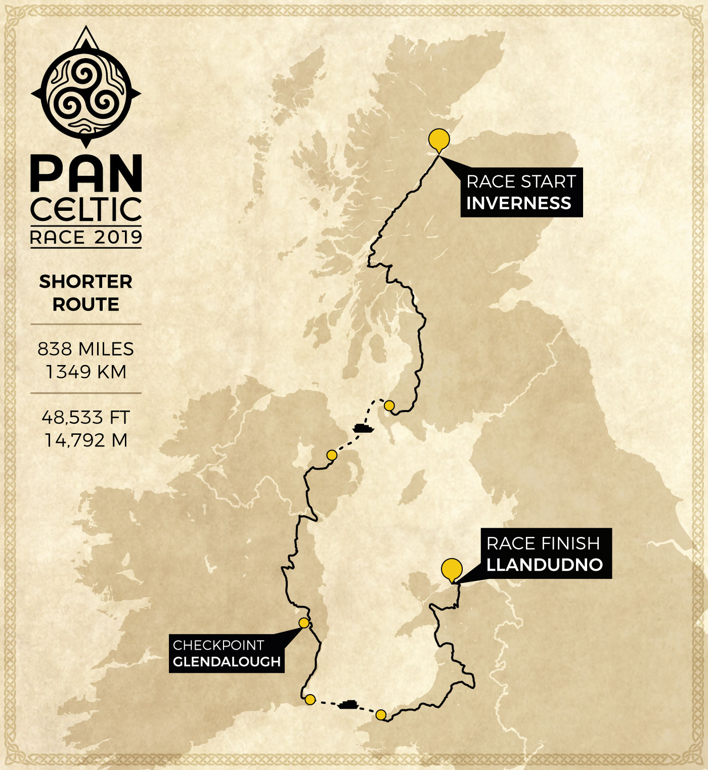 Shorter Route – Pan Celtic Race